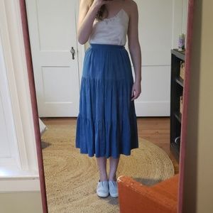 Vintage tiered denim skirt